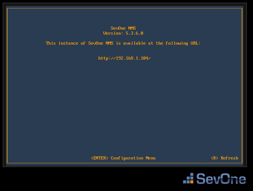 SevOne NMS GUI after run virtual machine