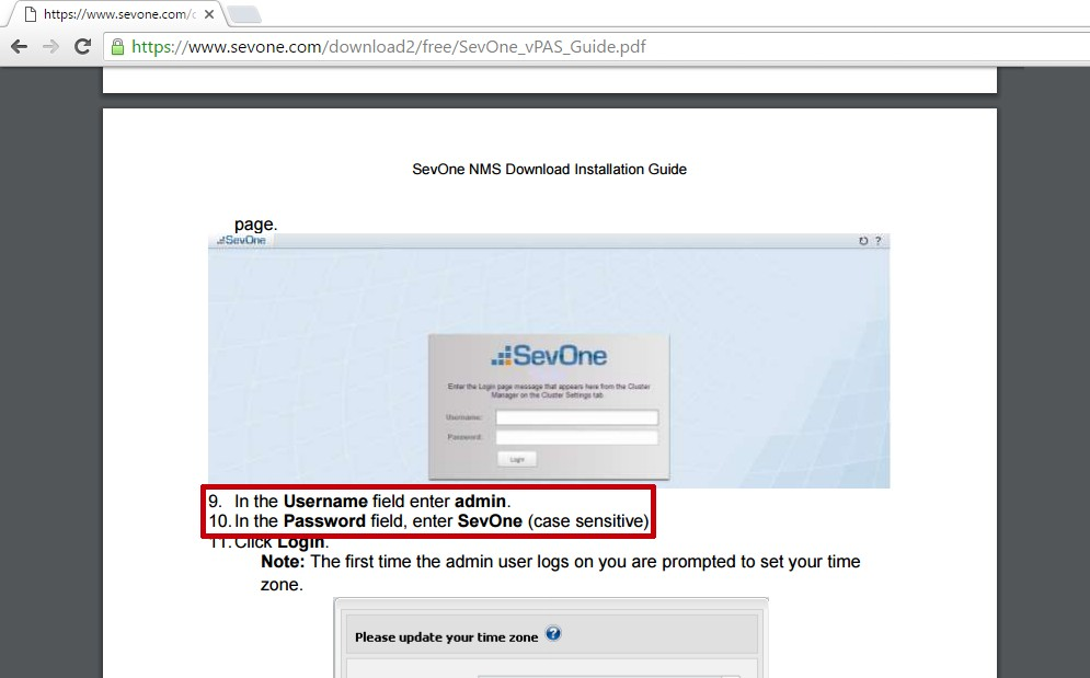 SevOne default web password