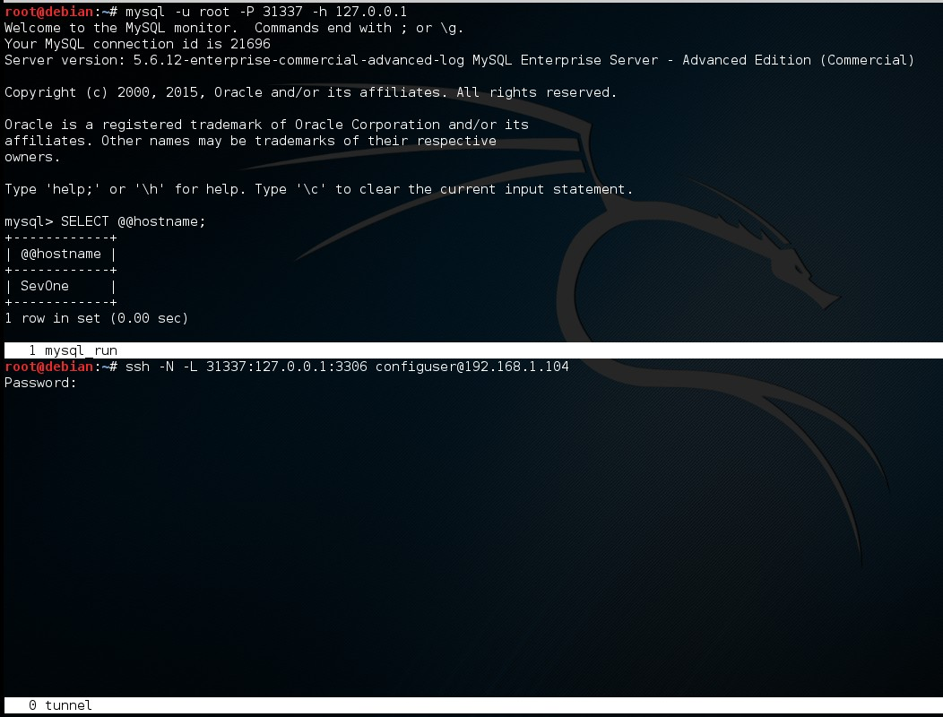 SevOne MySQL tunnel and connection