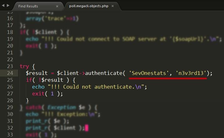 SevOneStats user password