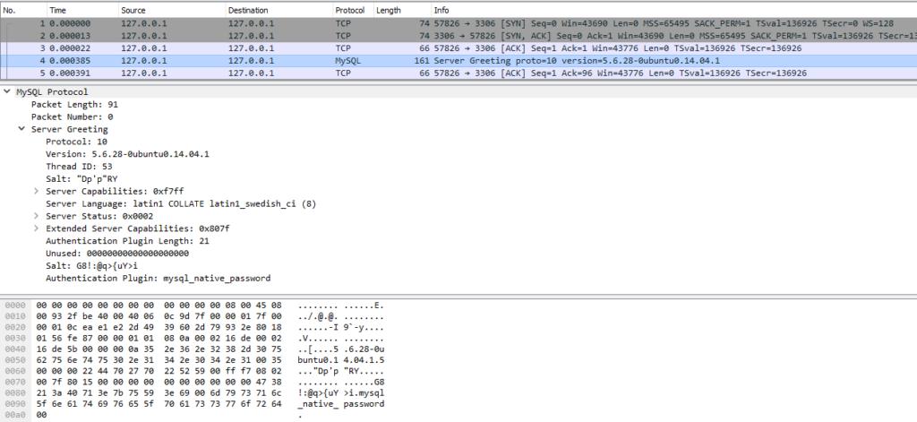 MySQL greeting packet
