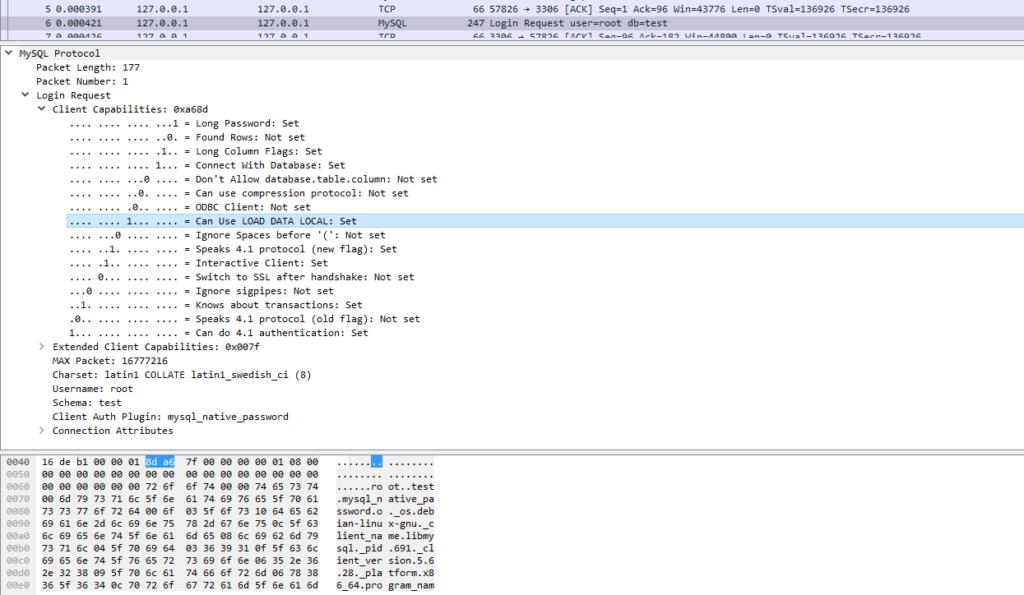 MySQL auth packet