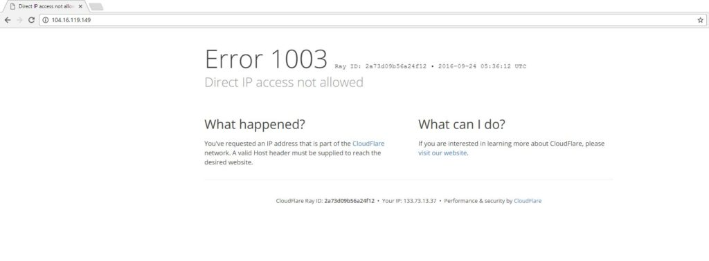 Default direct access Cloudflare page
