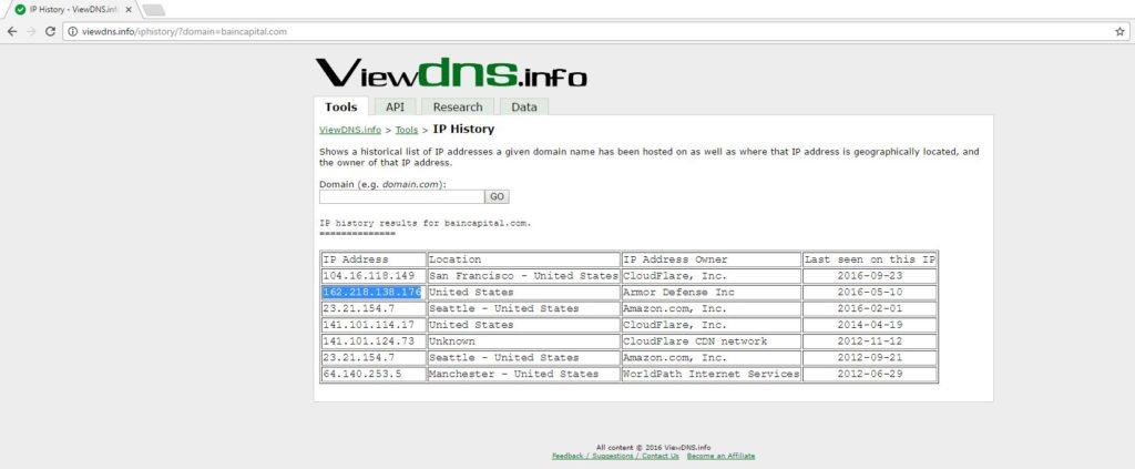 viewDNS.info IP history service