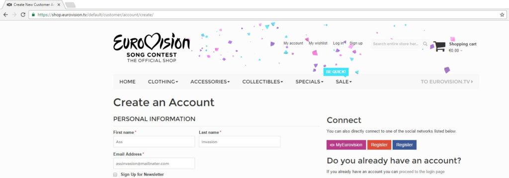 Account creation on shop.eurovision.tv